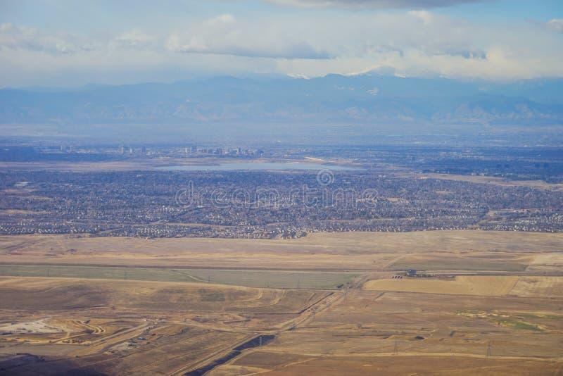 Вид с воздуха denver городской стоковая фотография rf