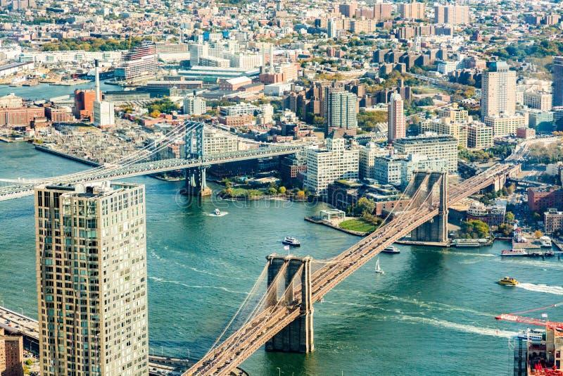 Вид с воздуха DUMBO Бруклина стоковая фотография