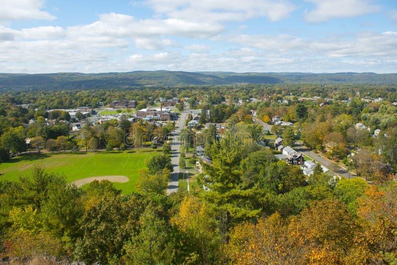 Вид с воздуха Greenfield, Массачусетс, США стоковое фото rf