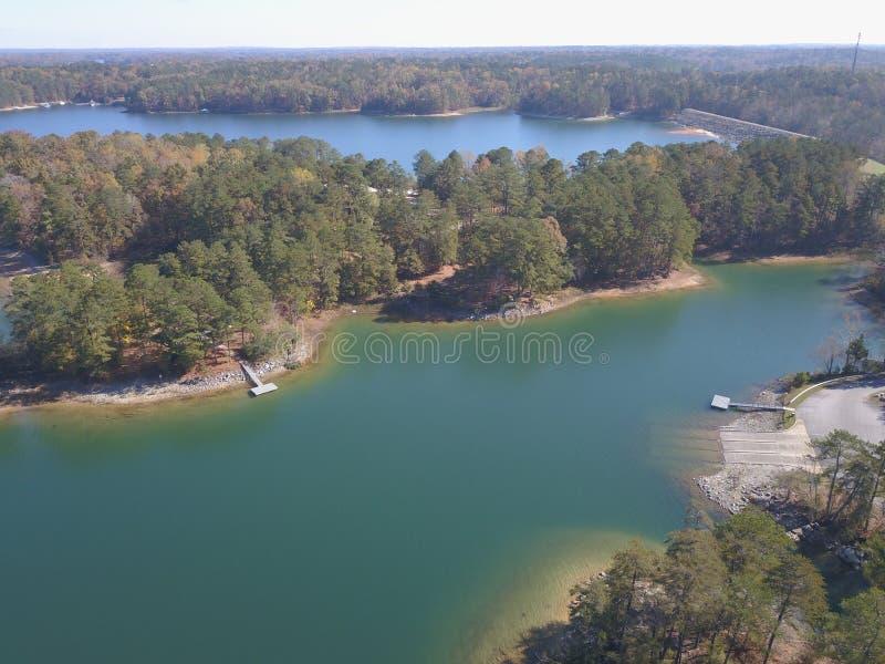 Вид с воздуха Lanier озера Georgia стоковое фото