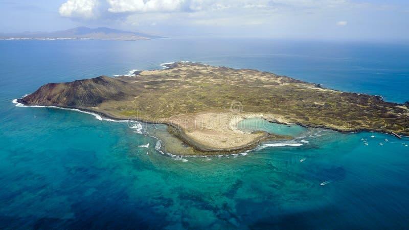 Вид с воздуха lobos острова, Канарских островов стоковые изображения