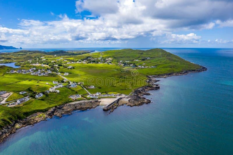 Вид с воздуха Portnoo в графстве Donegal, Ирландии стоковые фотографии rf