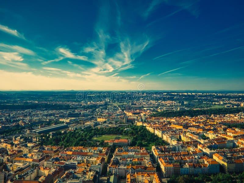 Вид с воздуха Riegrovy sady стоковые фото
