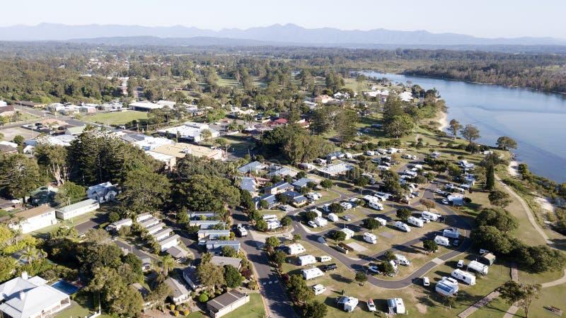 Вид с воздуха Urunga, стоковые изображения rf