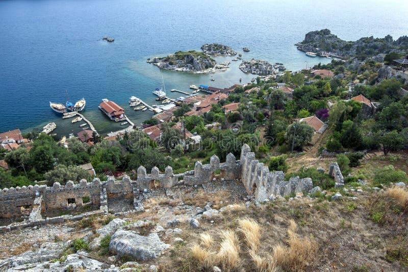 Вид с крестоносной крепости Симена в Турции стоковая фотография rf
