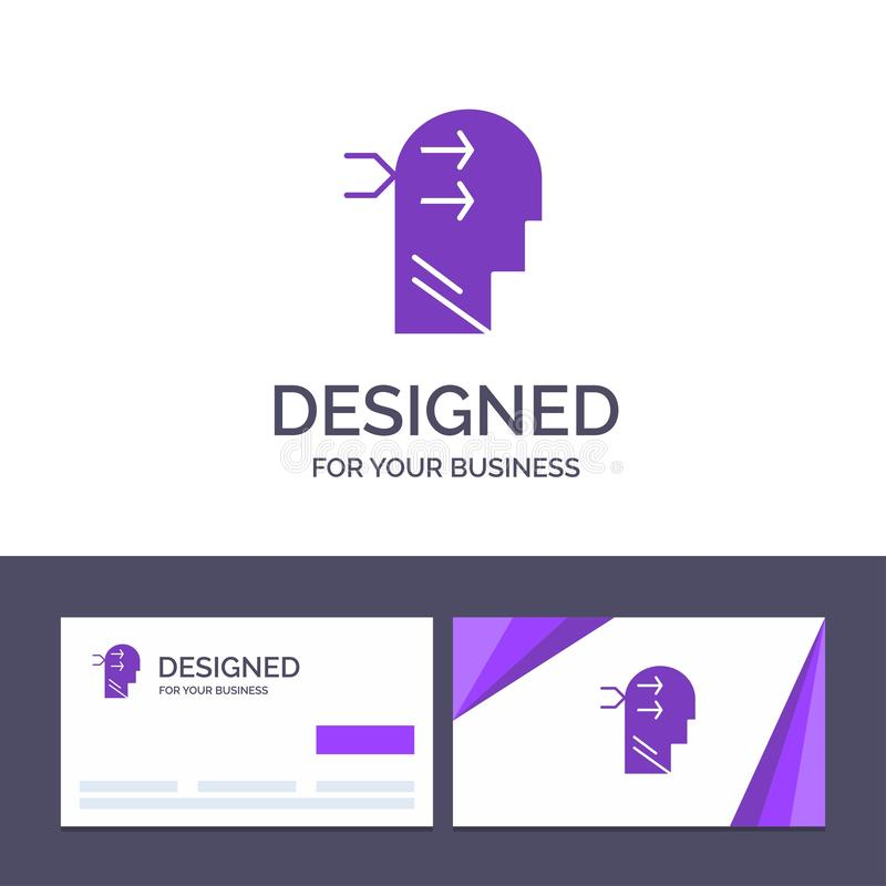 Вид творческого шаблона визитной карточки и логотипа умственный, голова, Брайан, думая иллюстрация вектора иллюстрация вектора