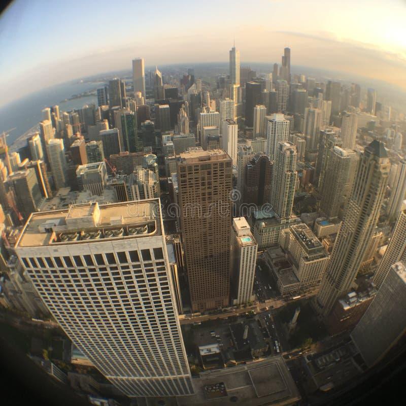 Вид Фисей на центр Чикаго стоковые изображения rf