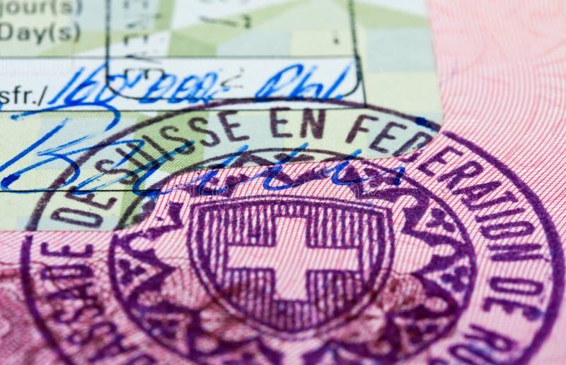 виза швейцарца штемпеля стоковые фото