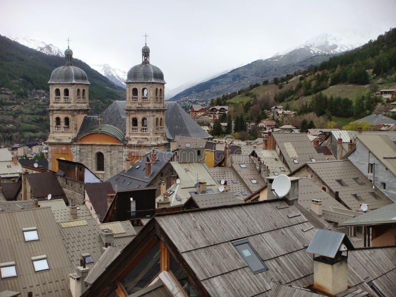 Визирование крыш города Briançon в Франции стоковая фотография rf