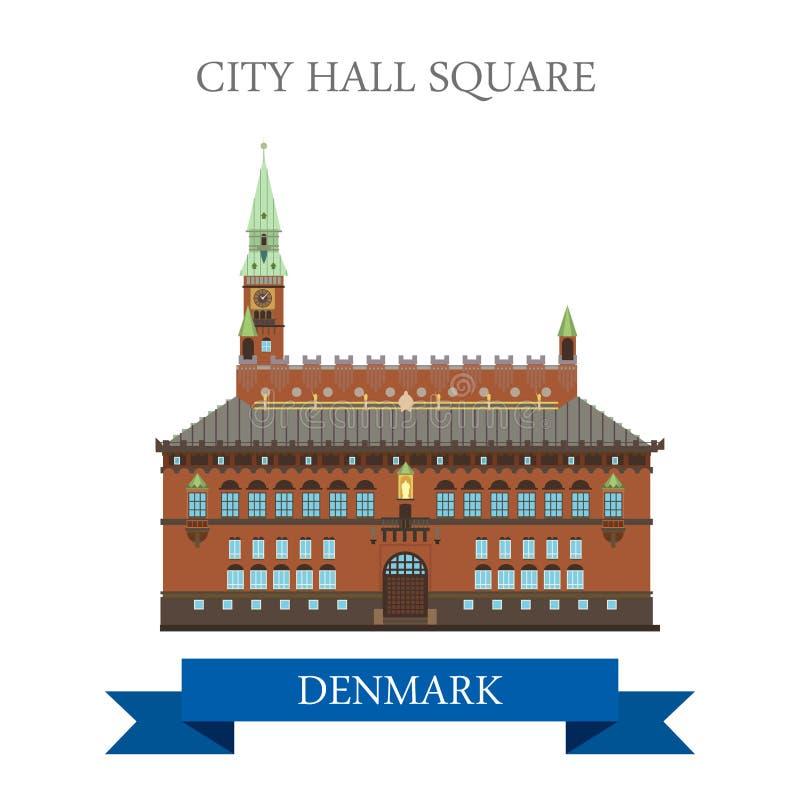 Визирование привлекательности вектора Копенгагена Дании здание муниципалитета квадратное плоское иллюстрация вектора