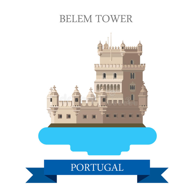 Визирование привлекательности вектора Лиссабона Португалии Европы башни Belem плоское бесплатная иллюстрация