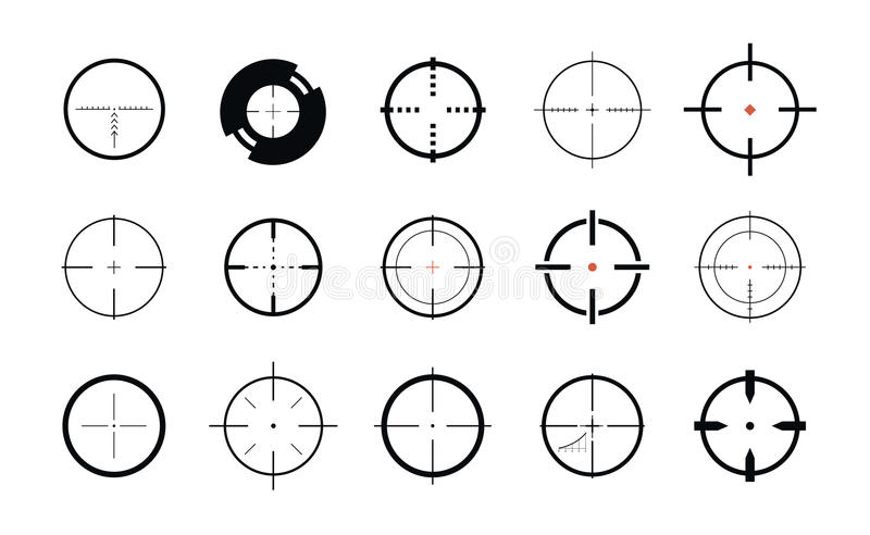 Визирование снайпера, символ Перекрестие, комплект цели значков также вектор иллюстрации притяжки corel иллюстрация вектора