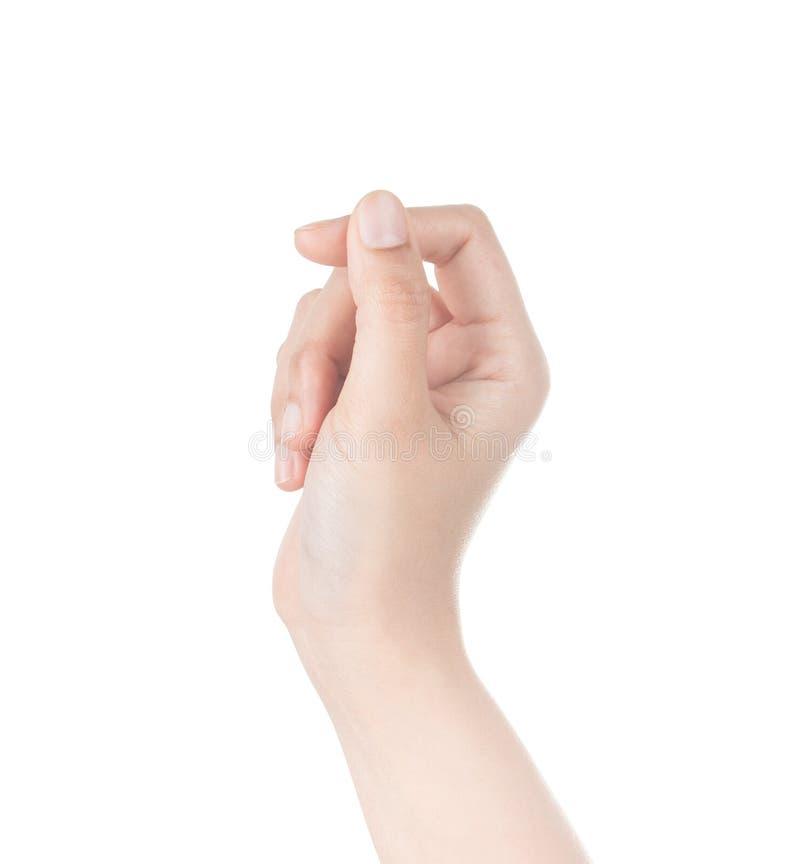 Визитная карточка владением руки женщины виртуальная, кредитная карточка или пустой isol стоковое фото rf