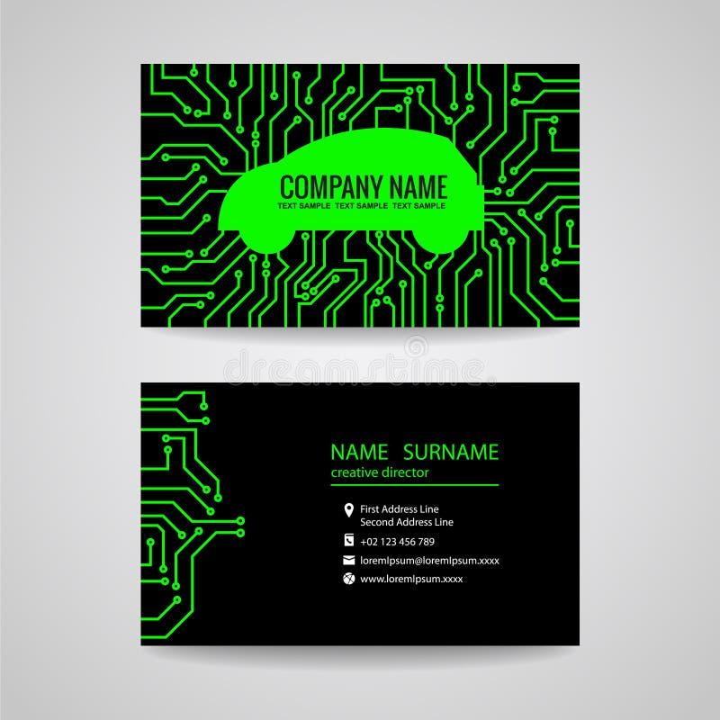 Визитная карточка - зеленый автомобиль и электронная плата с печатным монтажом на черной предпосылке иллюстрация штока