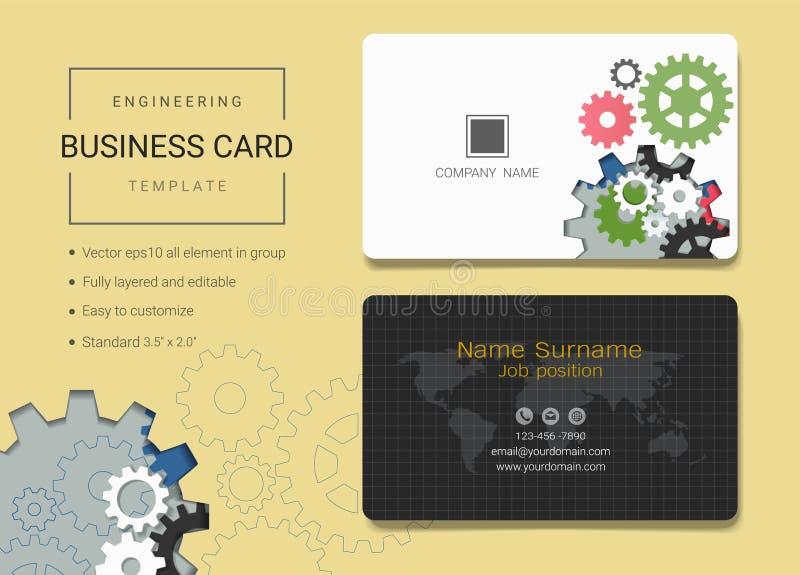 Визитная карточка инженерства или шаблон карточки имени иллюстрация вектора
