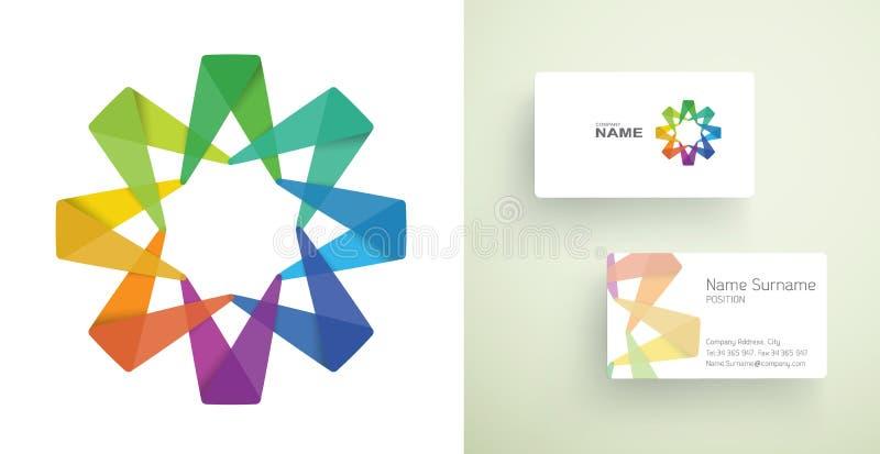 Визитная карточка с абстрактным красочным элементом. иллюстрация вектора