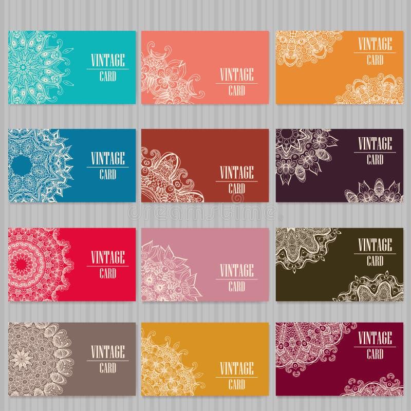 Визитная карточка шаблона вектора предпосылка геометрическая Собрание карточки или приглашения Ислам, арабский, индийский, мотивы стоковые изображения rf
