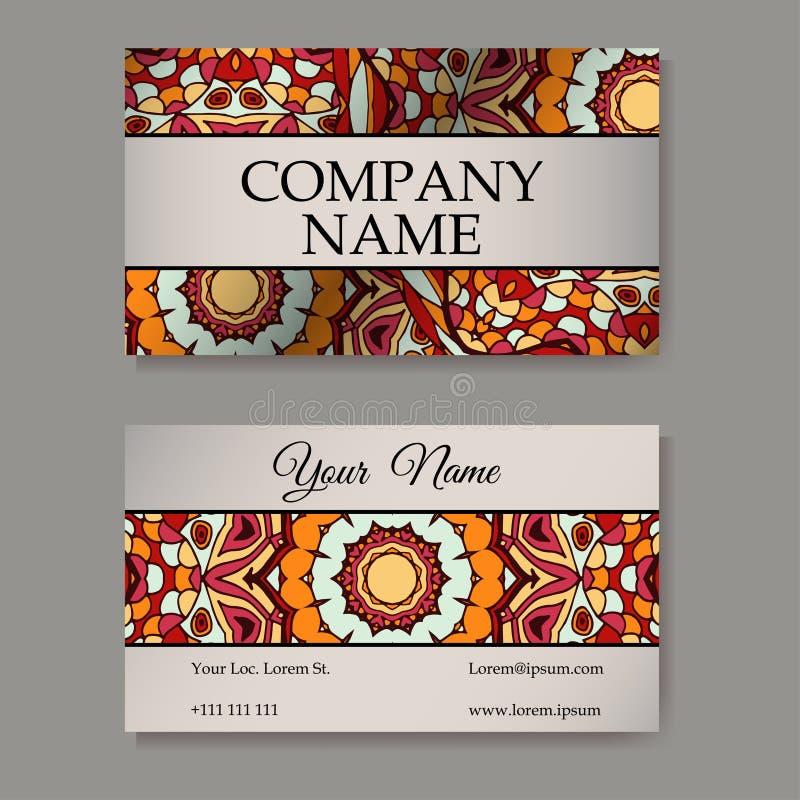 Визитная карточка шаблона вектора предпосылка геометрическая Собрание карточки или приглашения Ислам, арабский, индийский, мотивы бесплатная иллюстрация