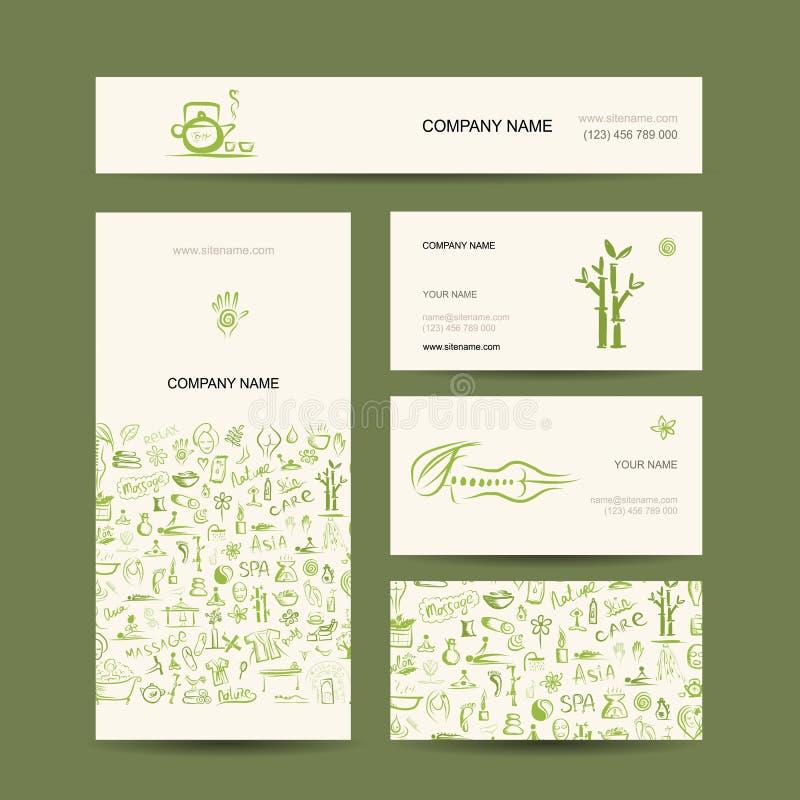 Визитные карточки конструируют, массаж и концепция курорта бесплатная иллюстрация