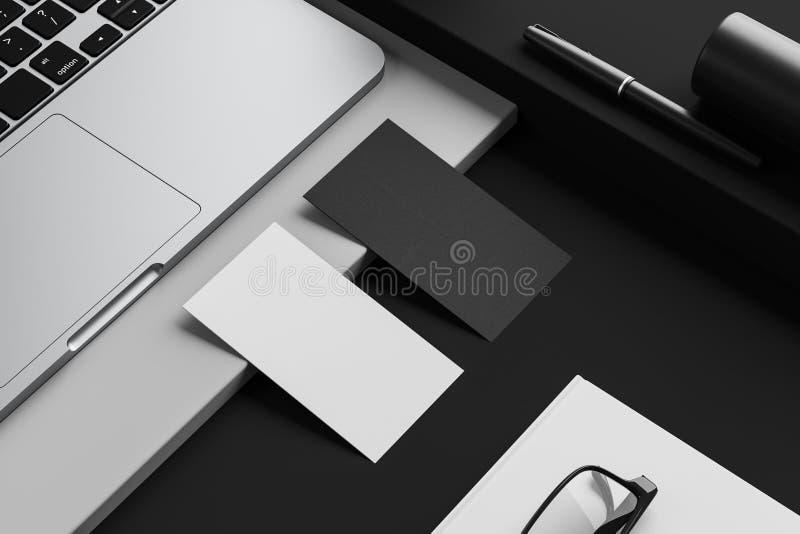 Визитные карточки на черной таблице компьютера иллюстрация штока