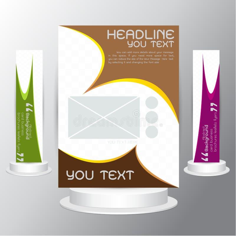 Визитные карточки рогулек брошюр вектора установленные коричневеют зеленое фиолетовое золото иллюстрация вектора