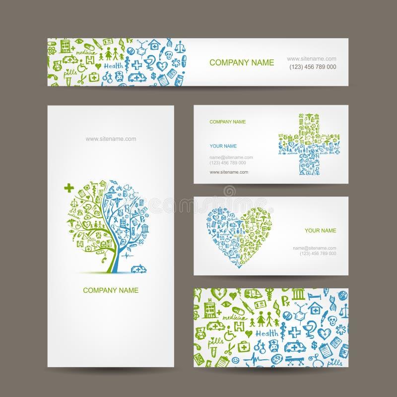 Визитные карточки с медицинскими объектами для вашего иллюстрация штока