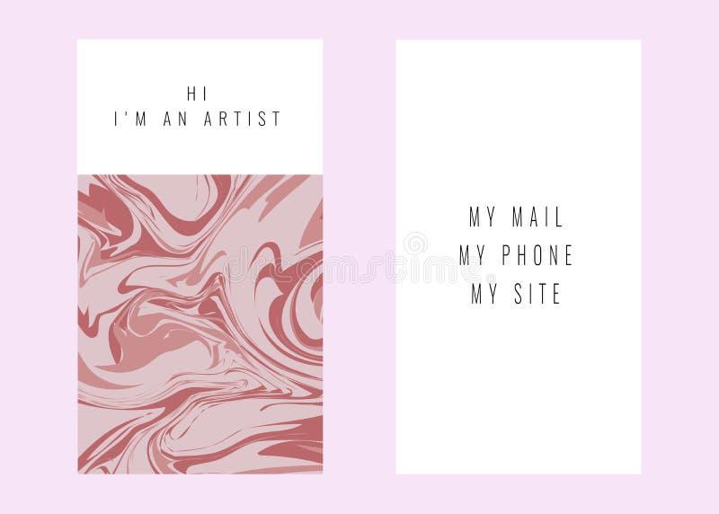 Визитные карточки с мраморной текстурой дизайн для крышки, знамени, приглашения, свадьбы, клеймить карты и вектора идентичности иллюстрация штока