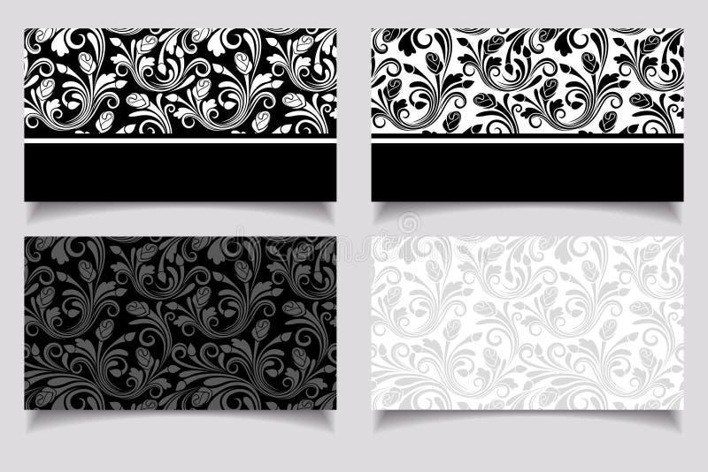 Визитные карточки с цветочными узорами. Вектор EPS-10. иллюстрация штока