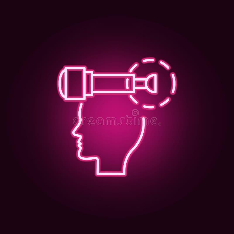 Визуализирование, голова, думает неоновый значок Элементы набора творческой мысли Простой значок для вебсайтов, веб-дизайн, мобил иллюстрация штока