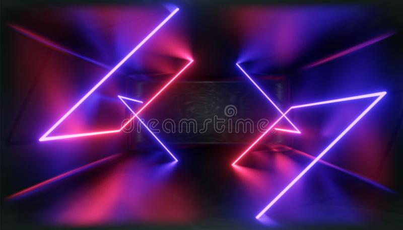 визуализирование 3d Геометрическая диаграмма в неоновом свете против темного тоннеля Зарево лазера бесплатная иллюстрация