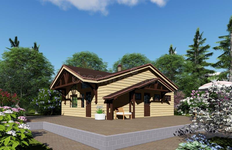 визуализирование 3d Деревянная баня стоковое фото rf