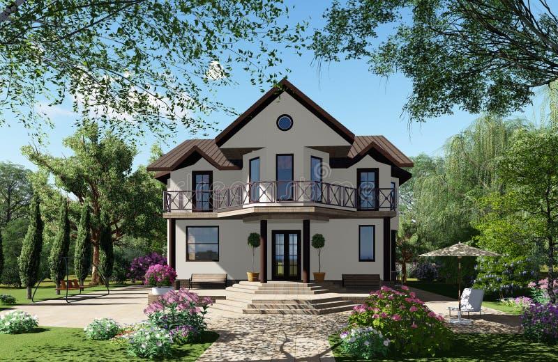 визуализирование 3d Дом на заднем плане красивого стоковое изображение rf