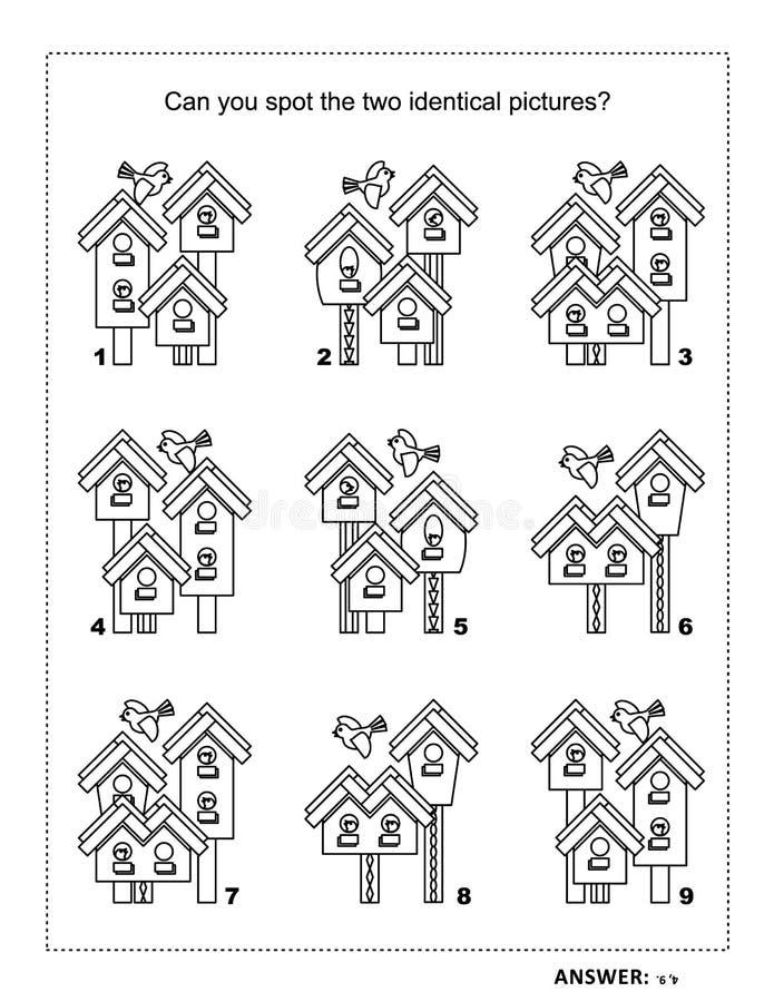 Визуальная страница головоломки и расцветки с birdhouses весны иллюстрация вектора