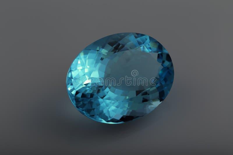 визуализирование vhq голубого topaz gemstones формы каталога овального годное к употреблению стоковая фотография