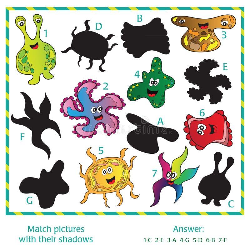 Визуальная головоломка - соответствуйте изображениям к их теням бесплатная иллюстрация