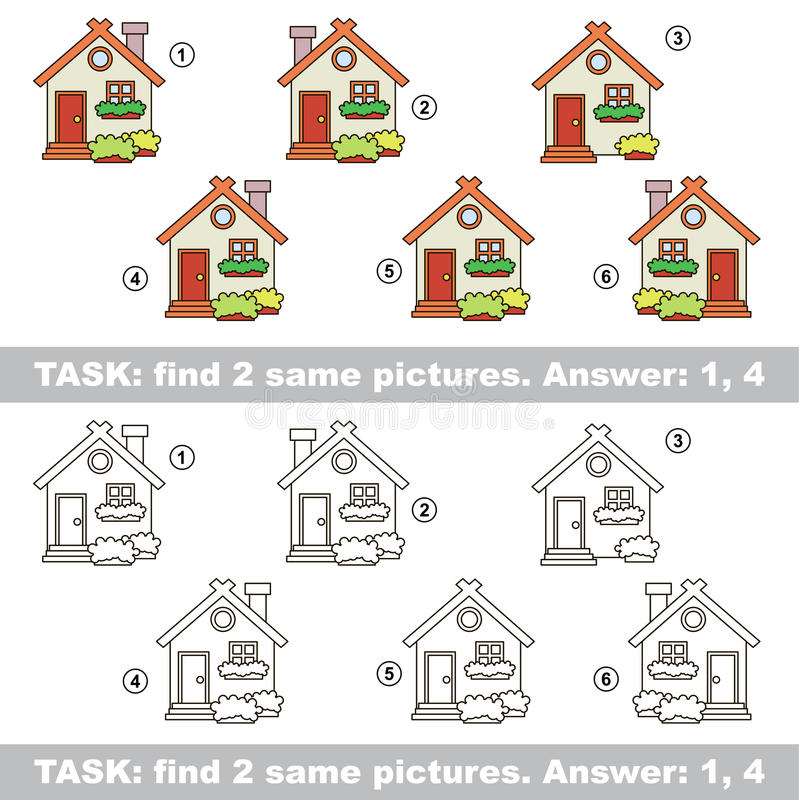 Визуальная игра Пары спрятанные находкой дома иллюстрация штока