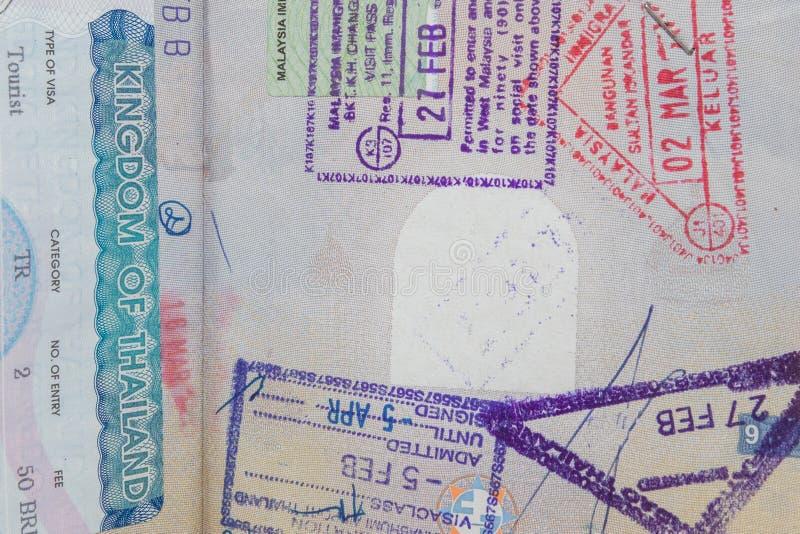 Визы в пасспорте стоковые фотографии rf