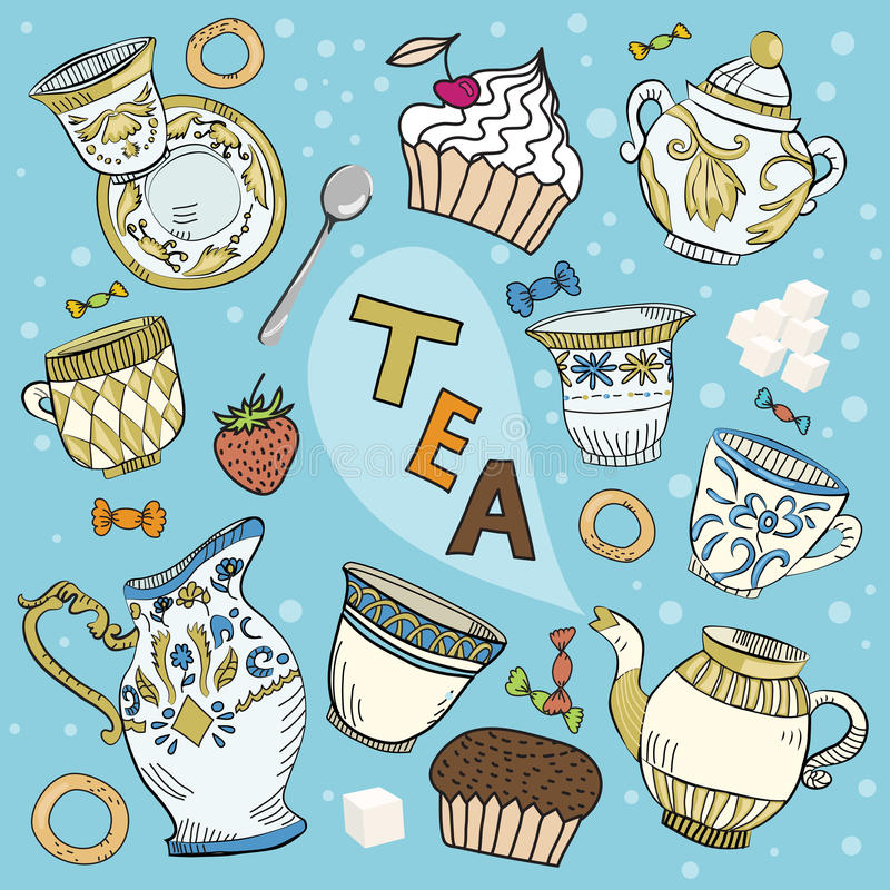викторианец чая шаржа установленное бесплатная иллюстрация