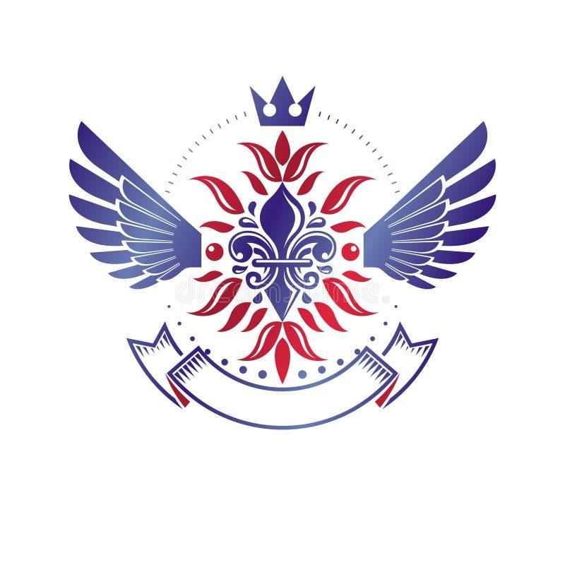 Викторианская эмблема составленная используя цветок лилии и монарх увенчивают r иллюстрация штока