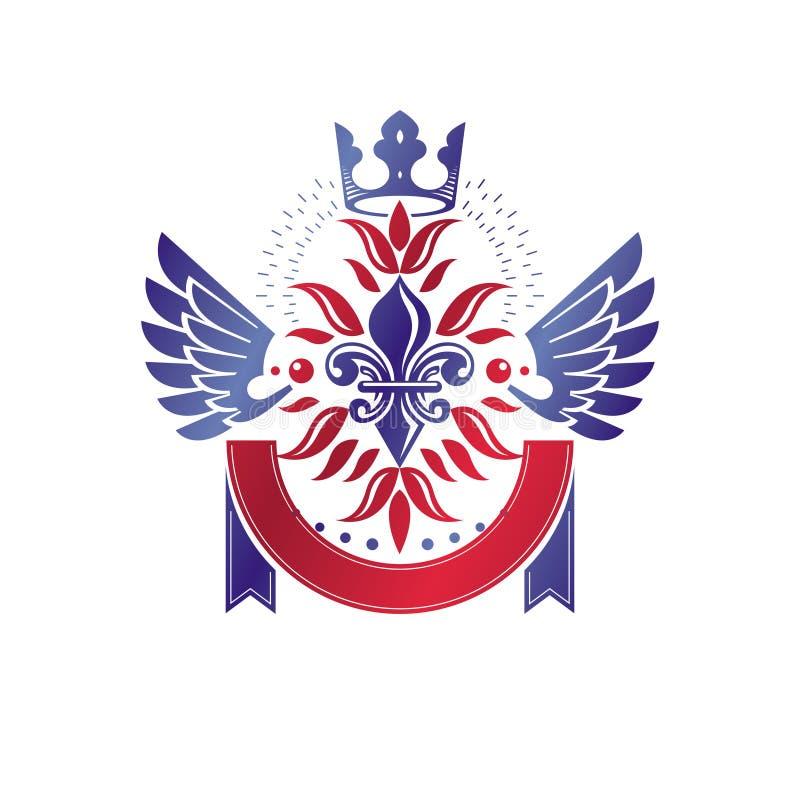 Викторианская эмблема составленная используя цветок лилии и монарх увенчивают r бесплатная иллюстрация