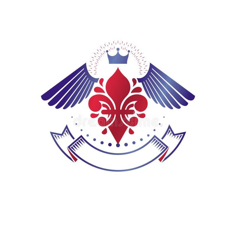 Викторианская эмблема составленная используя цветок лилии и монарх увенчивают r иллюстрация вектора