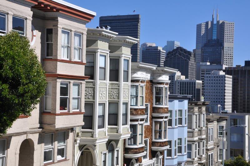 Викторианские дома, типичная архитектура Сан-Франциско стоковые фото