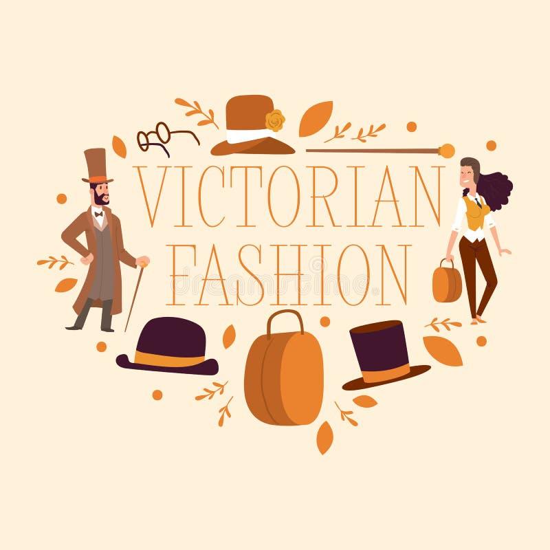 Викторианский джентльмен вектора людей в характере шляпы и женщины в  иллюстрация штока