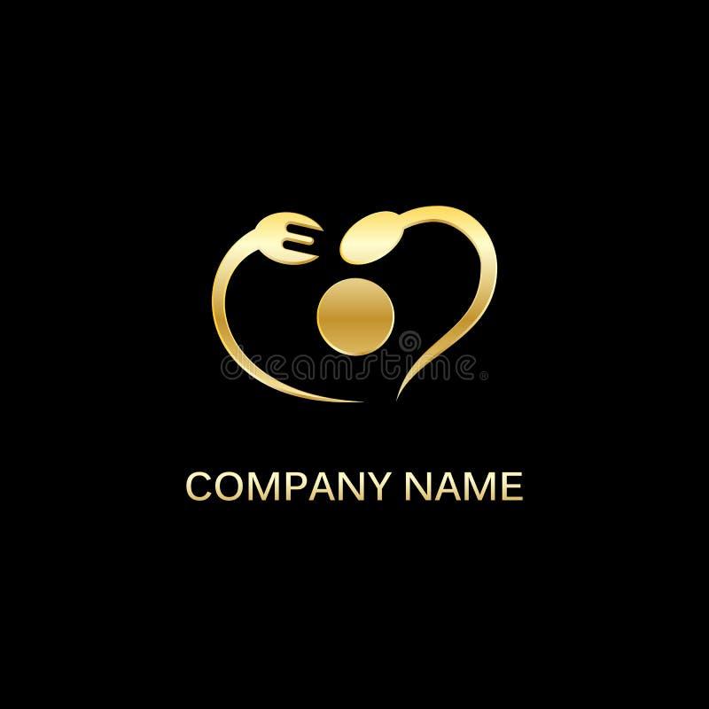Вилка золота и логотип еды ложки стоковые изображения rf