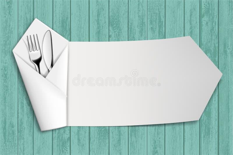 Вилка и нож в белой салфетке таблица деревянная иллюстрация штока