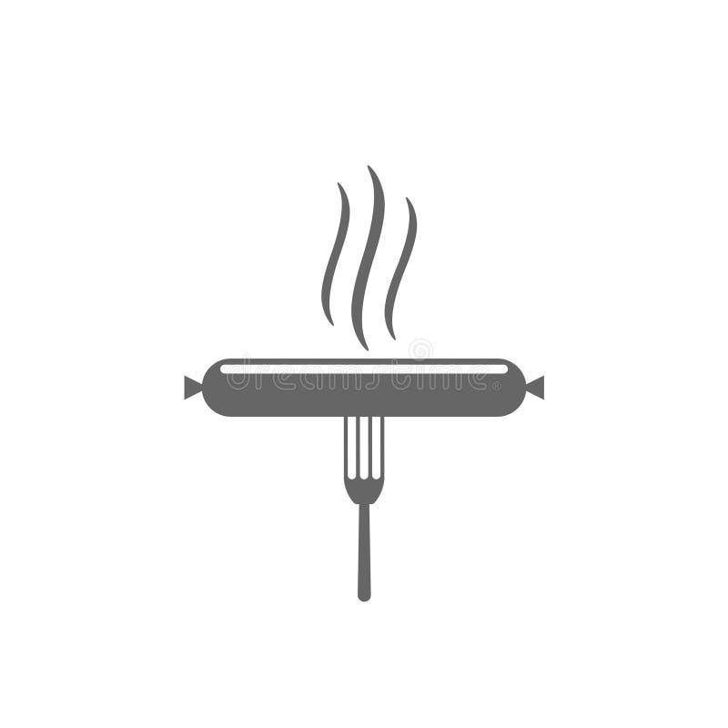 Вилка со значком сосиски иллюстрация вектора