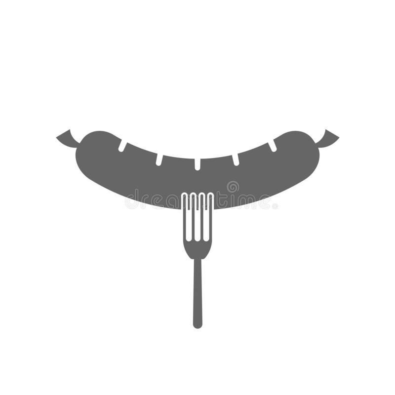 Вилка со значком сосиски иллюстрация штока