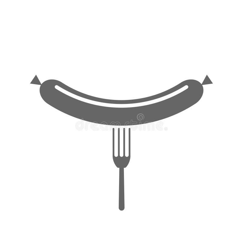 Вилка со значком сосиски бесплатная иллюстрация