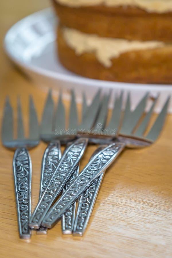 Вилки торта стоковые изображения rf