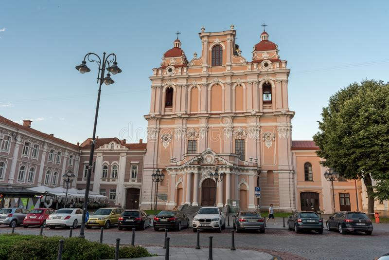 ВИЛЬНЮС, ЛИТВА - 24-ОЕ ИЮЛЯ 2018: Церковь St Casimir, Вильнюса, Литвы стоковые фото
